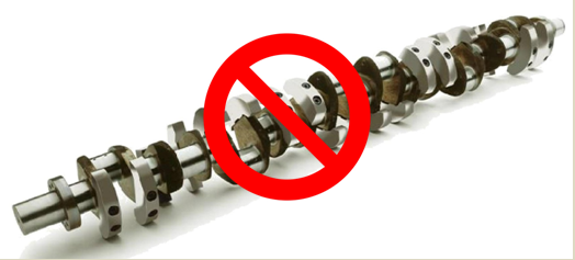 (Crankshaft with an overlay of the international forbidden sign)